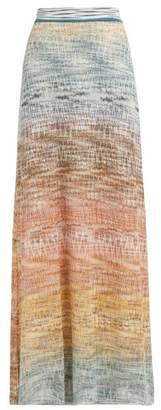 Missoni Degrade Zigzag Crochet Knit Maxi Skirt - Womens - Gold Multi