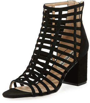 Karl Lagerfeld Paris Jasmint Caged Metallic Leather Sandals