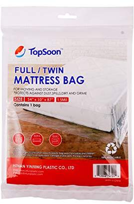 clear TopSoon Mattress Plastic Bag for Disposal Mattress Storage Bag Mattress Bag for Moving Full/Twin Size 54-Inch by 87-Inch