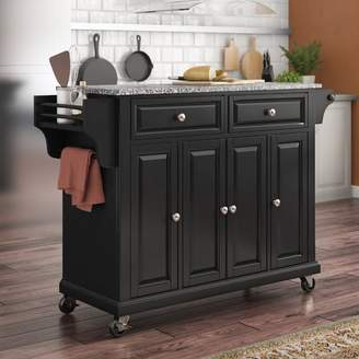 Co Darby Home Pottstown Kitchen Cart/Island with Granite Top Base
