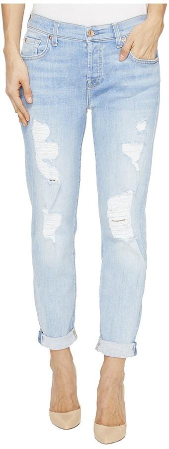 7 For All Mankind7 For All Mankind - Josefina Boyfriend w/ Destroy in Ocean Breeze Women's Jeans