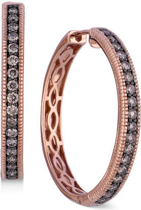 LeVian Le Vian Chocolate Diamond Hoop Earrings in 14k Rose Gold (5/8 ct. t.w.)