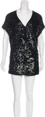 Donna Karan Sequined Short Sleeve Blouse