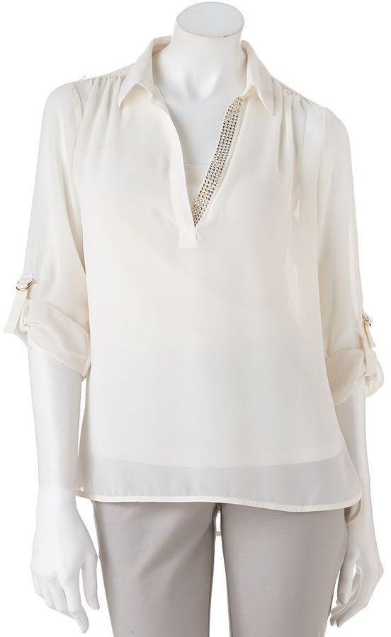 JLO by Jennifer Lopez embellished roll-tab chiffon blouse - petite