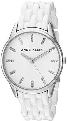 Anne Klein Women's AK/2617WTSV Glitter Accented Silver-Tone and White Resin Bracelet Watch