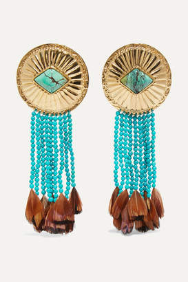 Aurelie Bidermann Navajo Gold-plated, Turquoise And Feather Earrings
