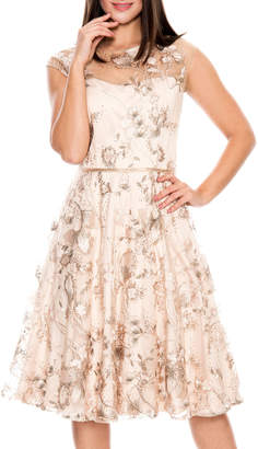 LM Collection Embroidered Illusion Fit & Flare Cocktail Dress