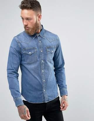 Lee Western Denim Shirt Slim Fit Blue Stance Mid Wash