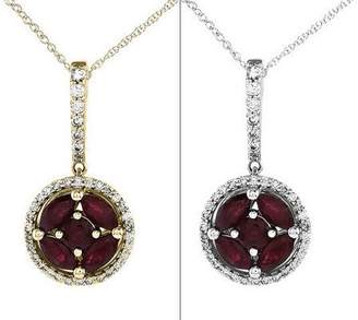 "Gemstone & 1/6 cttw Diamond Round Pendant w/ 18"" Chain, 14K"