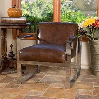 Christopher Knight Home 296148 Cleveland Mid-Century Modern Design Steel Frame Top Grain Leather Chair