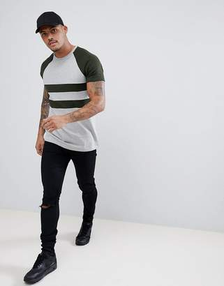 Asos DESIGN Longline T-Shirt In Color Block Twisted Jersey In Khaki