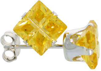 Sabrina Silver Sterling Silver Cubic Zirconia Invisible Cut Square Citrine Earrings Studs 2.5 carat/pair