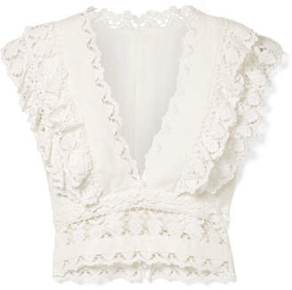 Zimmermann Wayfarer Cropped Ruffled Crochet-trimmed Linen Top