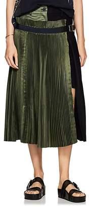 Sacai Women's Colorblocked Satin & Wool-Blend Midi-Skirt