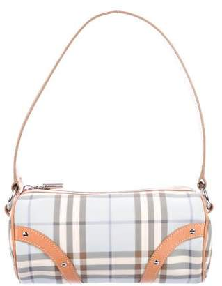 Burberry Leather-Trimmed Nova Check Shoulder Bag