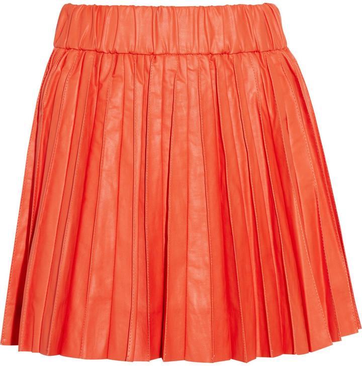 Karl Saatchi pleated faux leather mini skirt