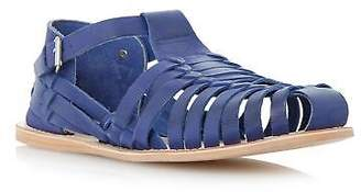 Dune Mens FISHER Woven Leather Closed Toe Sandal in Blue