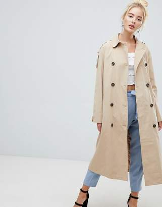 Fashion Union Belted Trench Jacket With Storm Flaps And Contrast Lining