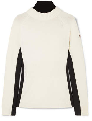 Moncler Ciclista Layered Wool-blend And Shell Turtleneck Sweater - White