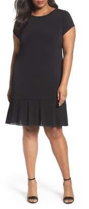 MICHAEL Michael Kors Pleat Chiffon Hem Jersey Dress