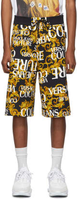 Versace Black and Yellow All Over Barocco Shorts
