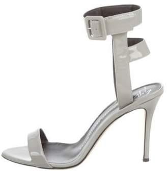 Giuseppe Zanotti Patent Leather Ankle Strap Sandals Grey Patent Leather Ankle Strap Sandals