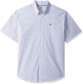 Cinch Men's Classic Fit Short Sleeve Button One Open Pocket Plaid Shirt, White/Blue, L