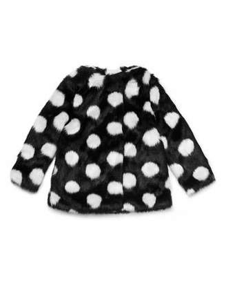 Kate Spade Polka-Dot Faux-Fur Coat, Size 7-14