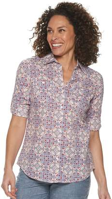 Croft & Barrow Women's Roll-Tab Shirt
