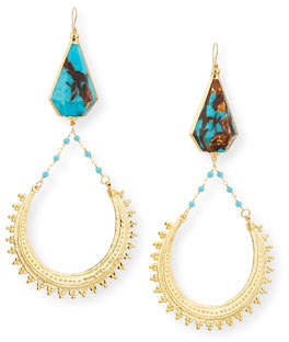 Devon Leigh Bronzite Turquoise Hoop Drop Earrings