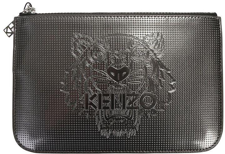 KenzoMetallic Grey Logo Embossed Pvc Clutch Bag