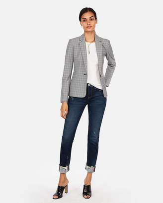 Express Petite Plaid One-Button Blazer