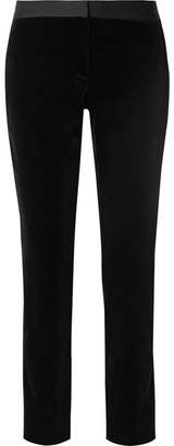 Theory Satin-trimmed Cotton-velvet Straight-leg Pants - Black