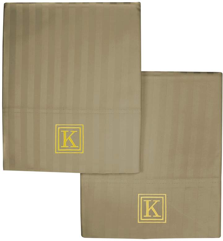 Luxor Linens Valentino Stripe 1200 TC Monogram Pillowcase Set (King)