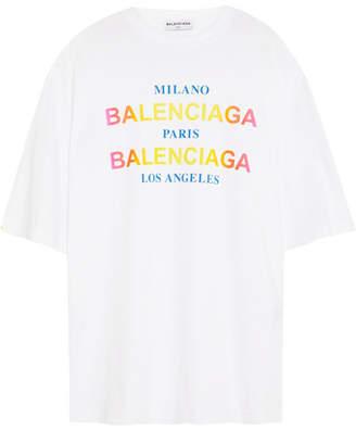 Balenciaga Printed Cotton-jersey T-shirt - White