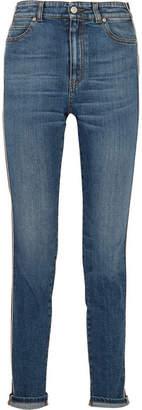 Alexander McQueen Striped High-rise Skinny Jeans - Mid denim