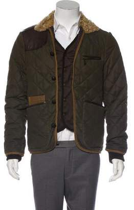 DSQUARED2 Shearling-Trimmed Quilted Jacket