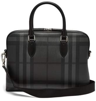 Burberry - The Barrow House Check Leather Briefcase - Mens - Black Grey