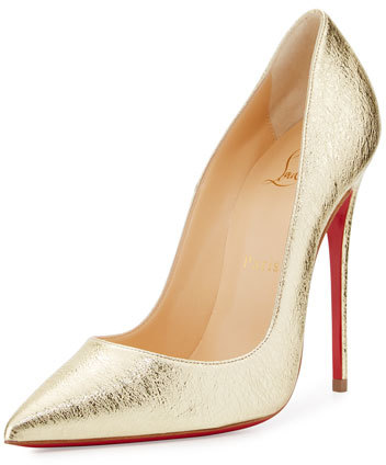 Christian Louboutin So Kate Metallic 120mm Red Sole Pump, Gold