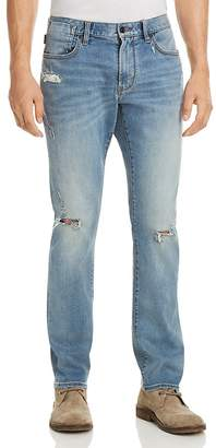 John Varvatos Bowery Slim Fit Jeans in Distressed Blue - 100% Exclusive