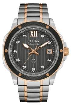 Bulova Men's Marine Star Two-Tone Stainless SteelDiamond Watch- 0.06 TCW- 98D127 $499 thestylecure.com