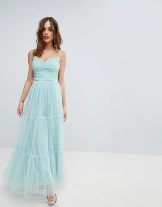 Little Mistress Tulle Maxi Dress With Satin Belt