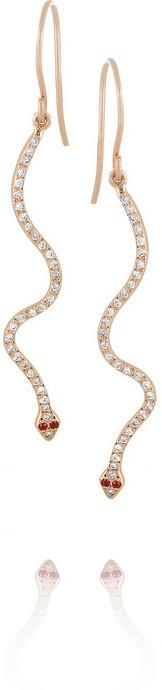 Ileana Makri Lucky Snake 18-karat rose gold, diamond and ruby earrings