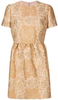 Valentino metallic floral mini dress