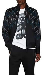 BLACKBARRETT Men's Abstract-Net Nylon & Cotton Bonded Piqué Bomber Jacket - Black