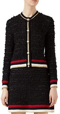 Gucci Women's Faux-Pearl Mixed Yarn Cardigan