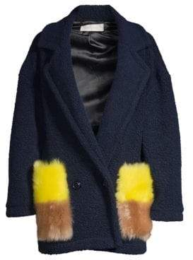 Anne Vest Berri Shearling Pocket Wool-Blend Coat