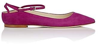 Brian Atwood WOMEN'S ASTRID SUEDE ANKLE-STRAP FLATS - PURPLE SIZE 9.5