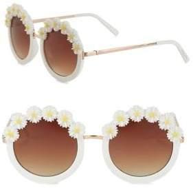 Sam Edelman 51MM Floral Accented Round Sunglasses