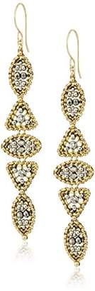 Miguel Ases Pyrite Alternating Marquise and Triangle Swarovski Drop Earrings